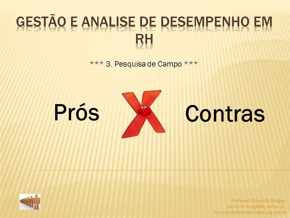 Professor Eduardo Borges - eduardo.borges@rj.senac.br - www.profeduardoborges.xpg.com.br Prós Contras *** 3. Pesquisa de Campo ***