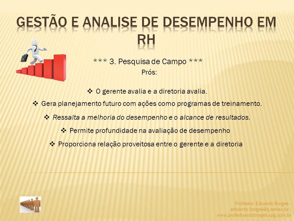 Professor Eduardo Borges - eduardo.borges@rj.senac.br - www.profeduardoborges.xpg.com.br *** 3. Pesquisa de Campo *** Prós: O gerente avalia e a diret