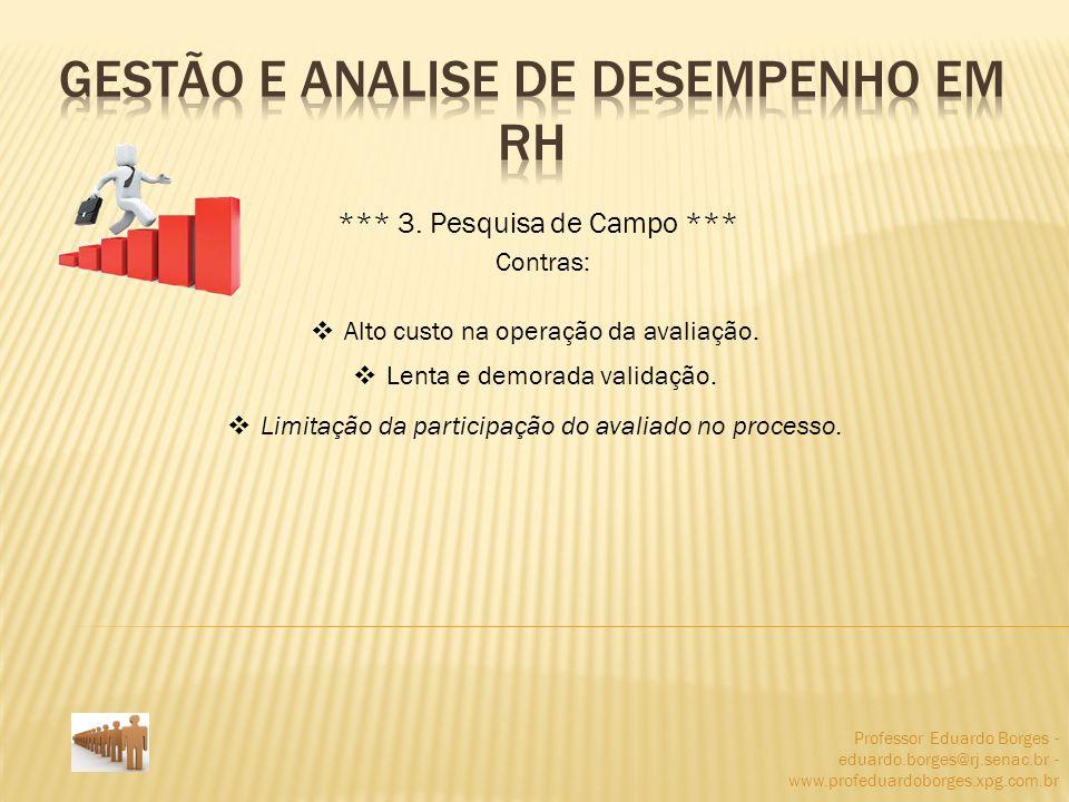 Professor Eduardo Borges - eduardo.borges@rj.senac.br - www.profeduardoborges.xpg.com.br *** 3. Pesquisa de Campo *** Contras: Alto custo na operação