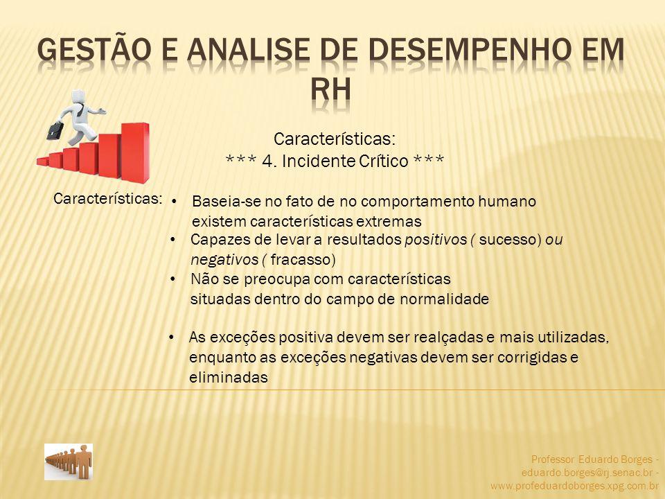 Professor Eduardo Borges - eduardo.borges@rj.senac.br - www.profeduardoborges.xpg.com.br Características: *** 4. Incidente Crítico *** Características