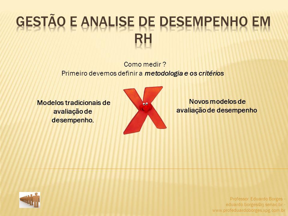 Professor Eduardo Borges - eduardo.borges@rj.senac.br - www.profeduardoborges.xpg.com.br Como medir ? Primeiro devemos definir a metodologia e os crit