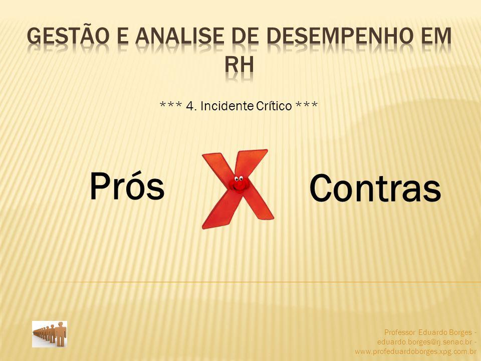 Professor Eduardo Borges - eduardo.borges@rj.senac.br - www.profeduardoborges.xpg.com.br Prós Contras *** 4. Incidente Crítico ***