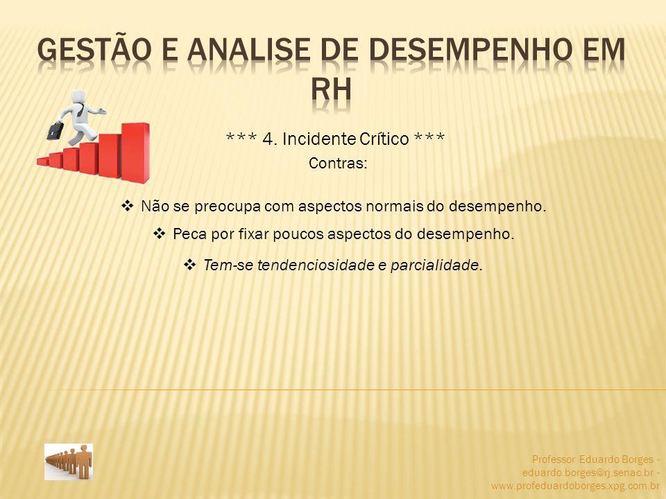 Professor Eduardo Borges - eduardo.borges@rj.senac.br - www.profeduardoborges.xpg.com.br *** 4. Incidente Crítico *** Contras: Não se preocupa com asp