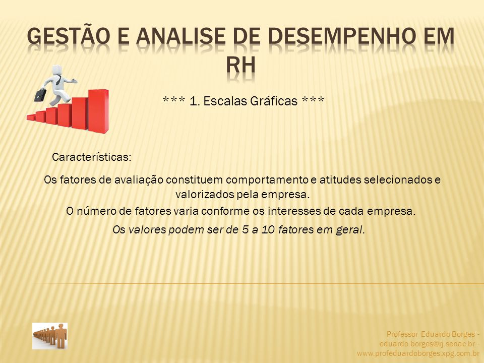 Professor Eduardo Borges - eduardo.borges@rj.senac.br - www.profeduardoborges.xpg.com.br *** 1. Escalas Gráficas *** Características: Os fatores de av