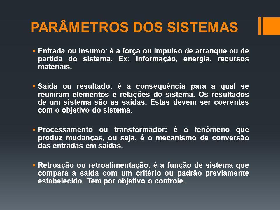 PARÂMETROS DOS SISTEMAS Entrada ou insumo: é a força ou impulso de arranque ou de partida do sistema.