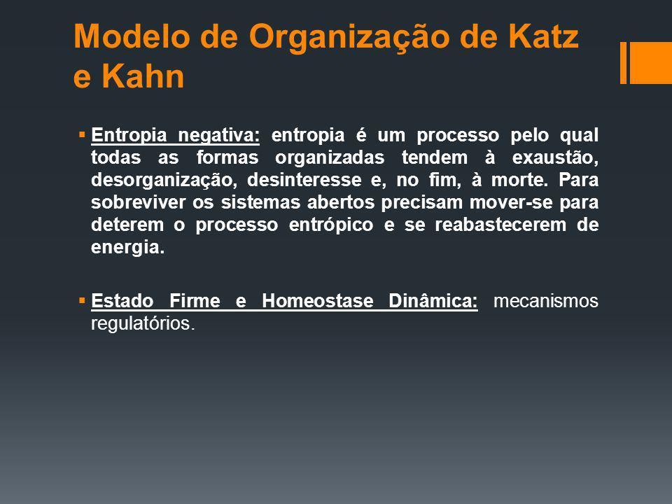 Modelo de Organização de Katz e Kahn Entropia negativa: entropia é um processo pelo qual todas as formas organizadas tendem à exaustão, desorganização, desinteresse e, no fim, à morte.
