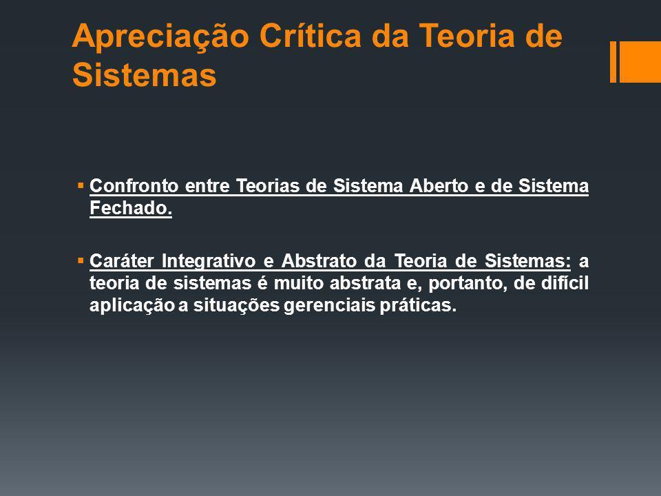 Apreciação Crítica da Teoria de Sistemas Confronto entre Teorias de Sistema Aberto e de Sistema Fechado.