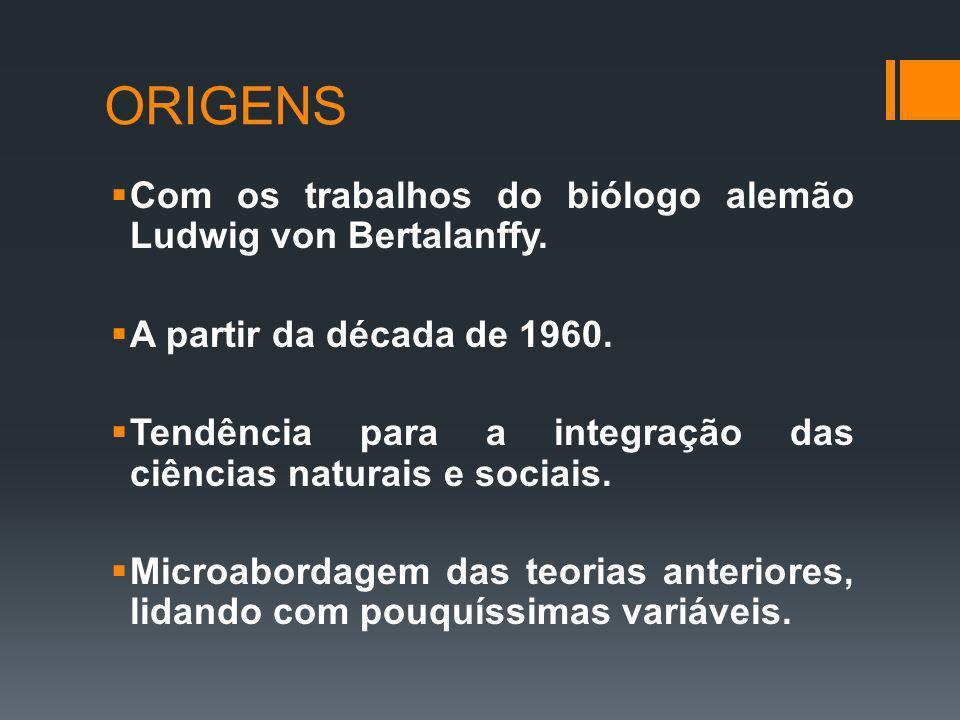 ORIGENS Com os trabalhos do biólogo alemão Ludwig von Bertalanffy. A partir da década de 1960. Tendência para a integração das ciências naturais e soc