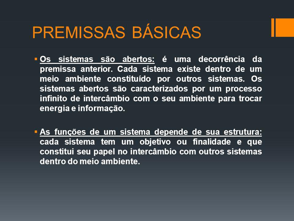 PREMISSAS BÁSICAS Os sistemas são abertos: é uma decorrência da premissa anterior. Cada sistema existe dentro de um meio ambiente constituído por outr