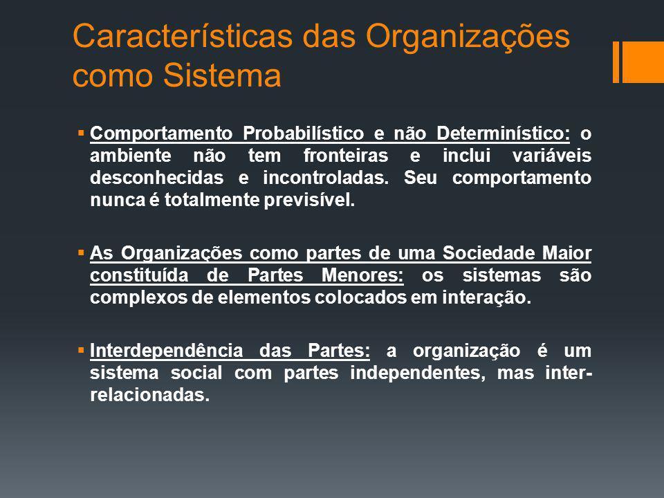 Características das Organizações como Sistema Comportamento Probabilístico e não Determinístico: o ambiente não tem fronteiras e inclui variáveis desconhecidas e incontroladas.