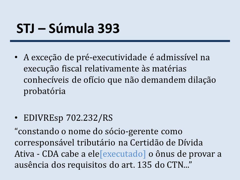 STJ – Súmula 393 A exceção de pré-executividade é admissível na execução fiscal relativamente às matérias conhecíveis de ofício que não demandem dilaç