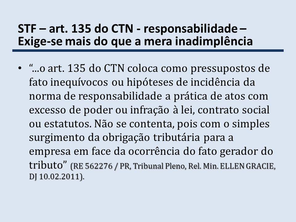 STF – art. 135 do CTN - responsabilidade – Exige-se mais do que a mera inadimplência (RE 562276 / PR, Tribunal Pleno, Rel. Min. ELLEN GRACIE, DJ 10.02