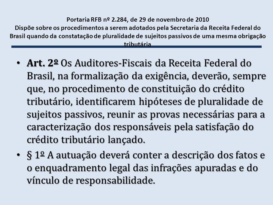 Portaria RFB nº 2.284, de 29 de novembro de 2010 Dispõe sobre os procedimentos a serem adotados pela Secretaria da Receita Federal do Brasil quando da