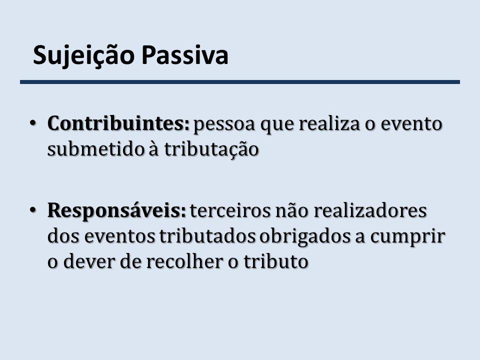 Sujeição Passiva Contribuintes: pessoa que realiza o evento submetido à tributação Contribuintes: pessoa que realiza o evento submetido à tributação R