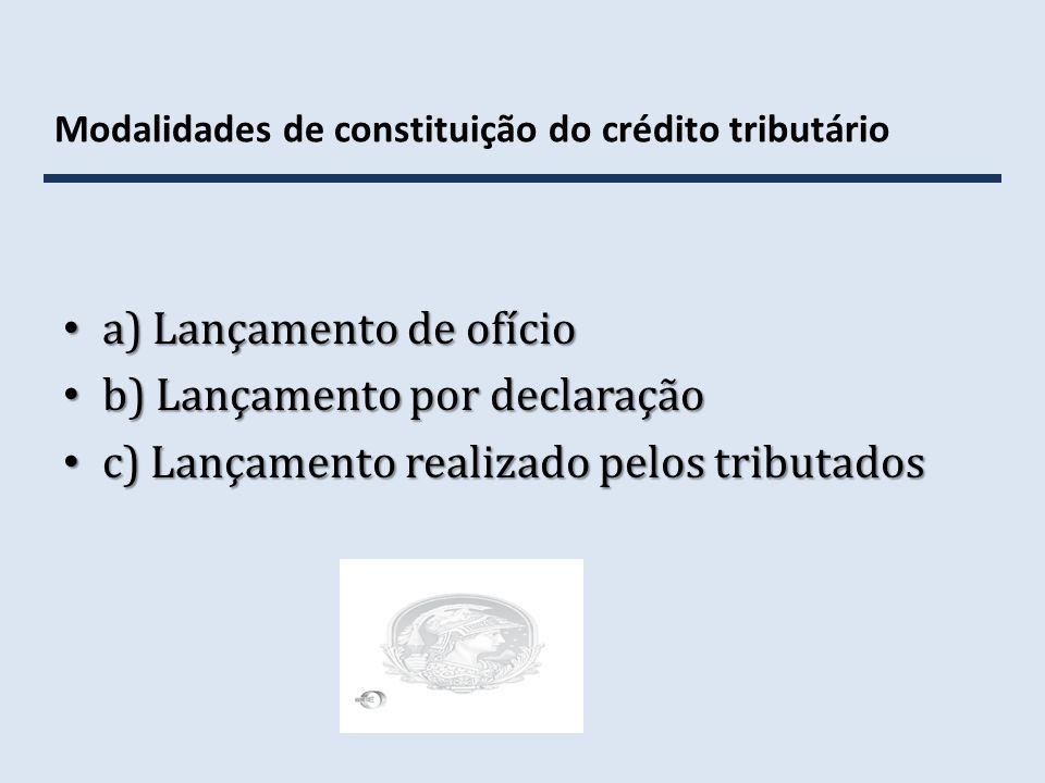 Modalidades de constituição do crédito tributário a) Lançamento de ofício a) Lançamento de ofício b) Lançamento por declaração b) Lançamento por decla