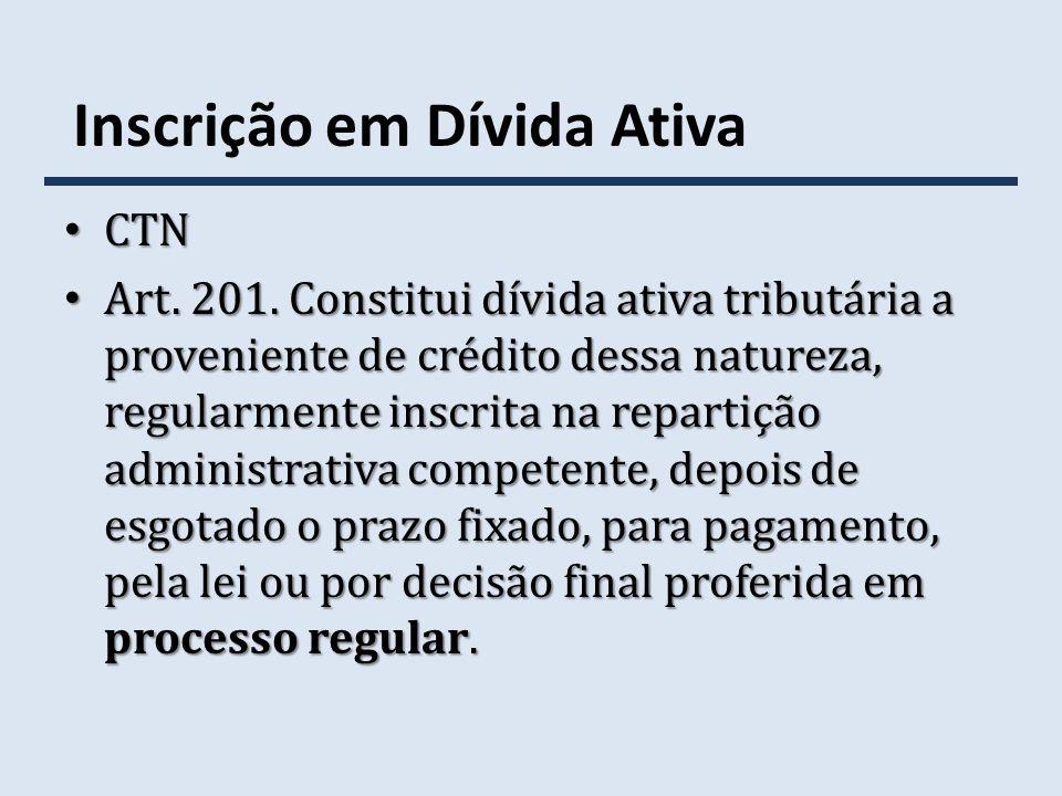 Inscrição em Dívida Ativa CTN CTN Art. 201. Constitui dívida ativa tributária a proveniente de crédito dessa natureza, regularmente inscrita na repart