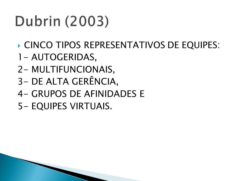 CINCO TIPOS REPRESENTATIVOS DE EQUIPES: 1- AUTOGERIDAS, 2- MULTIFUNCIONAIS, 3- DE ALTA GERÊNCIA, 4- GRUPOS DE AFINIDADES E 5- EQUIPES VIRTUAIS.