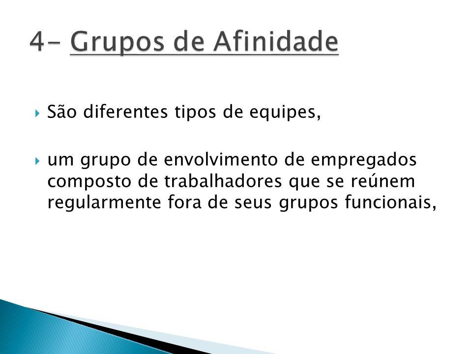 São diferentes tipos de equipes, um grupo de envolvimento de empregados composto de trabalhadores que se reúnem regularmente fora de seus grupos funci
