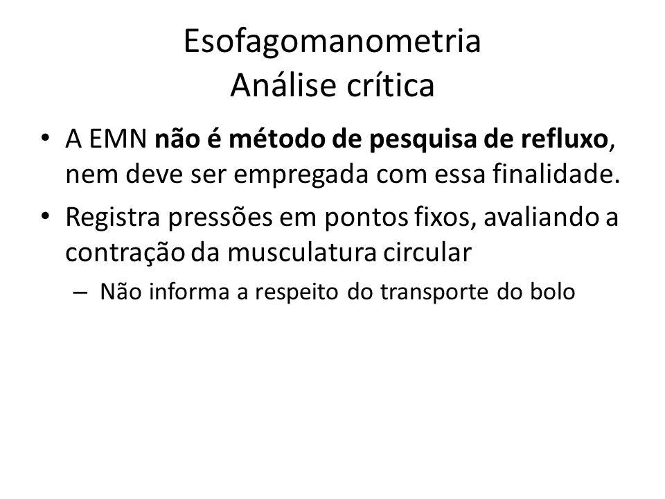 Esofagomanometria Análise crítica A EMN não é método de pesquisa de refluxo, nem deve ser empregada com essa finalidade. Registra pressões em pontos f