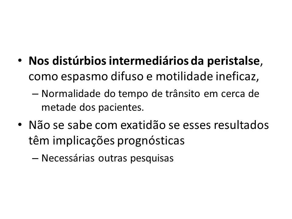 Nos distúrbios intermediários da peristalse, como espasmo difuso e motilidade ineficaz, – Normalidade do tempo de trânsito em cerca de metade dos paci