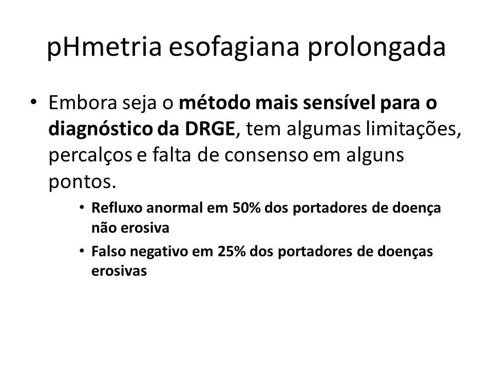 pHmetria esofagiana prolongada Embora seja o método mais sensível para o diagnóstico da DRGE, tem algumas limitações, percalços e falta de consenso em