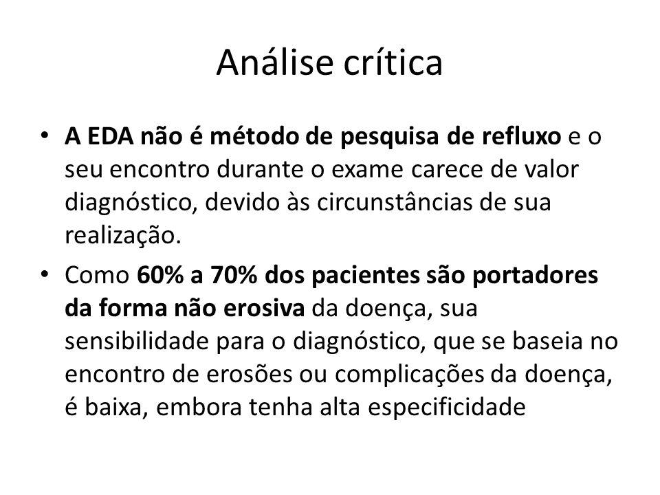 Análise crítica A EDA não é método de pesquisa de refluxo e o seu encontro durante o exame carece de valor diagnóstico, devido às circunstâncias de su