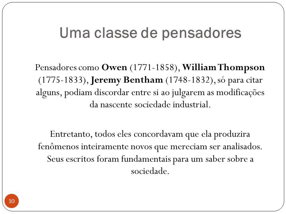Uma classe de pensadores Pensadores como Owen (1771-1858), William Thompson (1775-1833), Jeremy Bentham (1748-1832), só para citar alguns, podiam disc