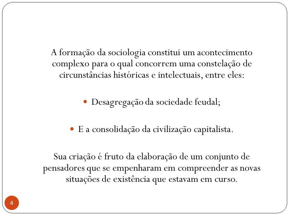 A formação da sociologia constitui um acontecimento complexo para o qual concorrem uma constelação de circunstâncias históricas e intelectuais, entre