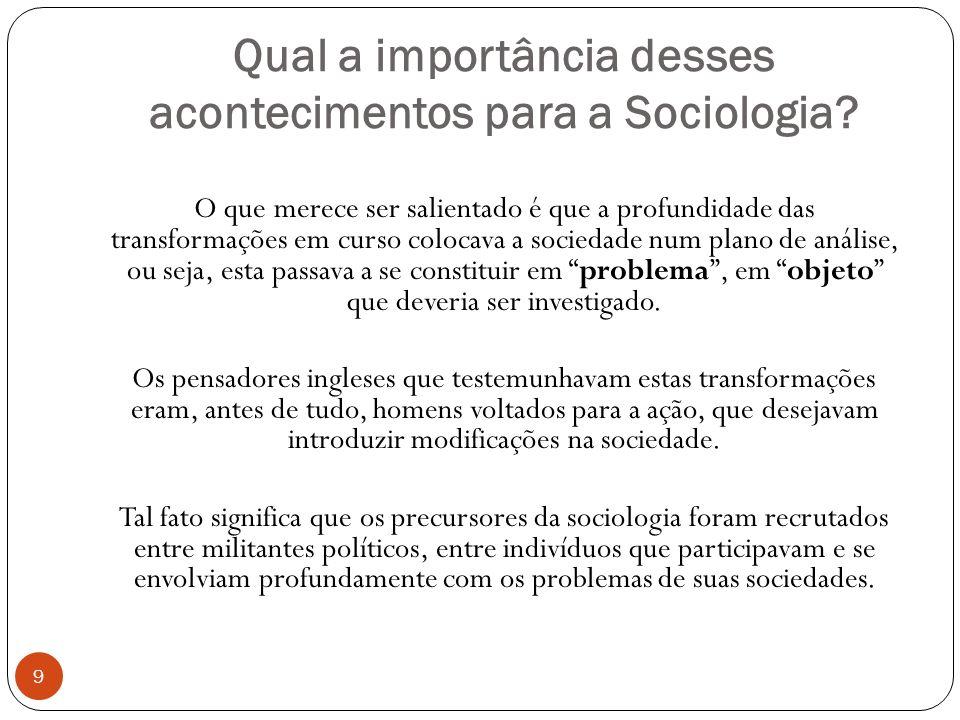 Qual a importância desses acontecimentos para a Sociologia? O que merece ser salientado é que a profundidade das transformações em curso colocava a so