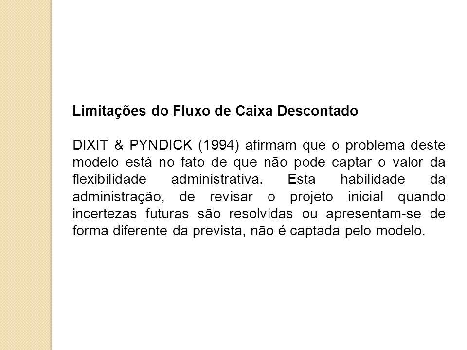 Limitações do Fluxo de Caixa Descontado DIXIT & PYNDICK (1994) afirmam que o problema deste modelo está no fato de que não pode captar o valor da flex