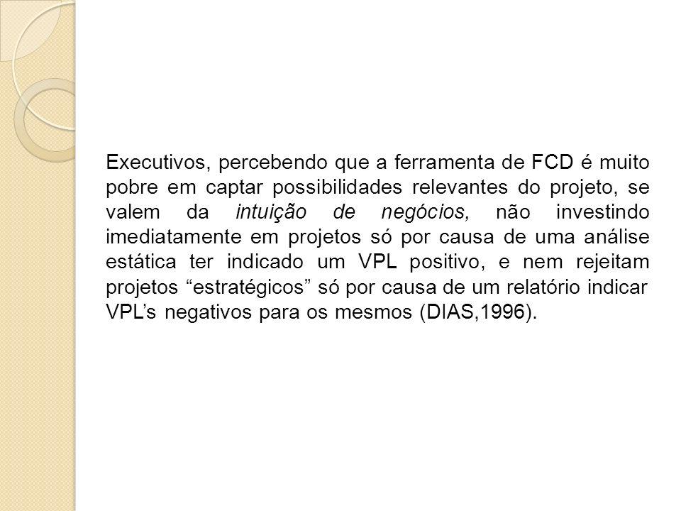 Executivos, percebendo que a ferramenta de FCD é muito pobre em captar possibilidades relevantes do projeto, se valem da intuição de negócios, não inv