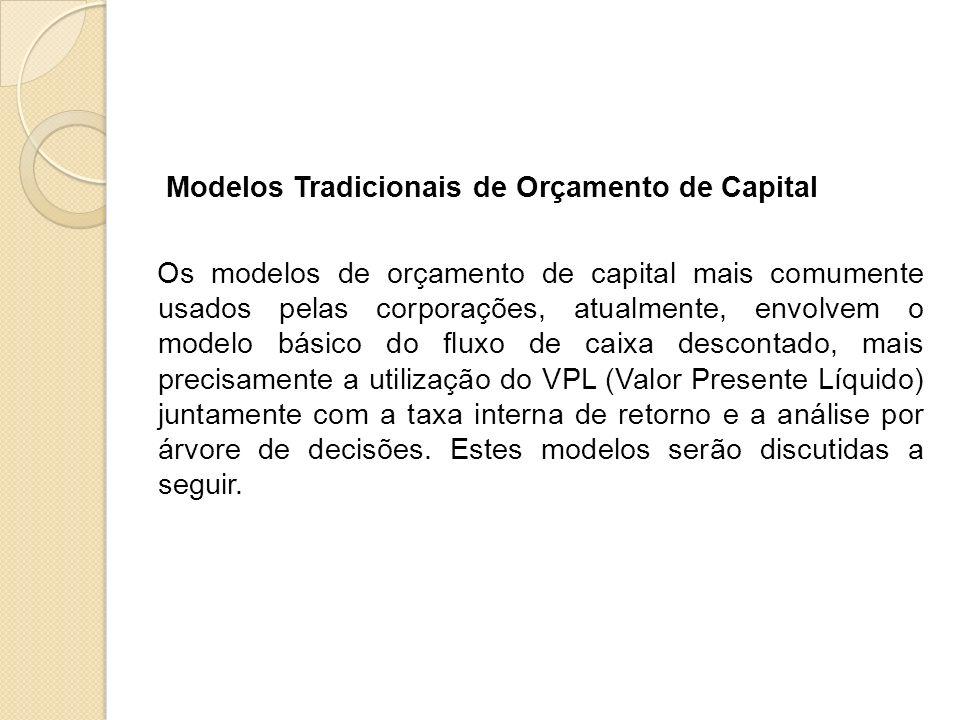 Modelos Tradicionais de Orçamento de Capital Os modelos de orçamento de capital mais comumente usados pelas corporações, atualmente, envolvem o modelo