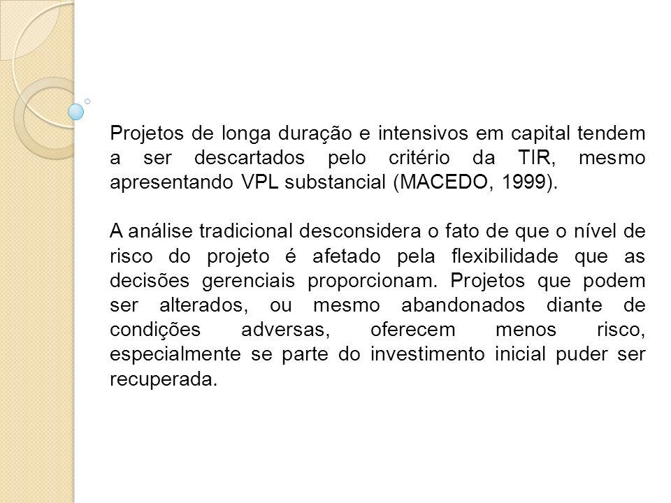 Projetos de longa duração e intensivos em capital tendem a ser descartados pelo critério da TIR, mesmo apresentando VPL substancial (MACEDO, 1999). A