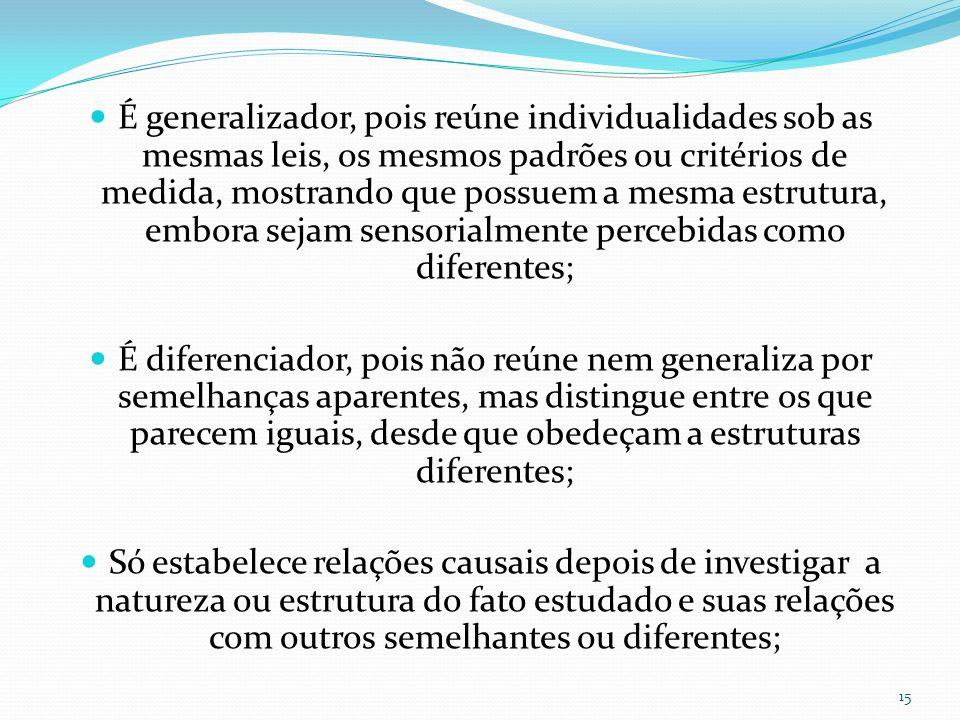 É generalizador, pois reúne individualidades sob as mesmas leis, os mesmos padrões ou critérios de medida, mostrando que possuem a mesma estrutura, em