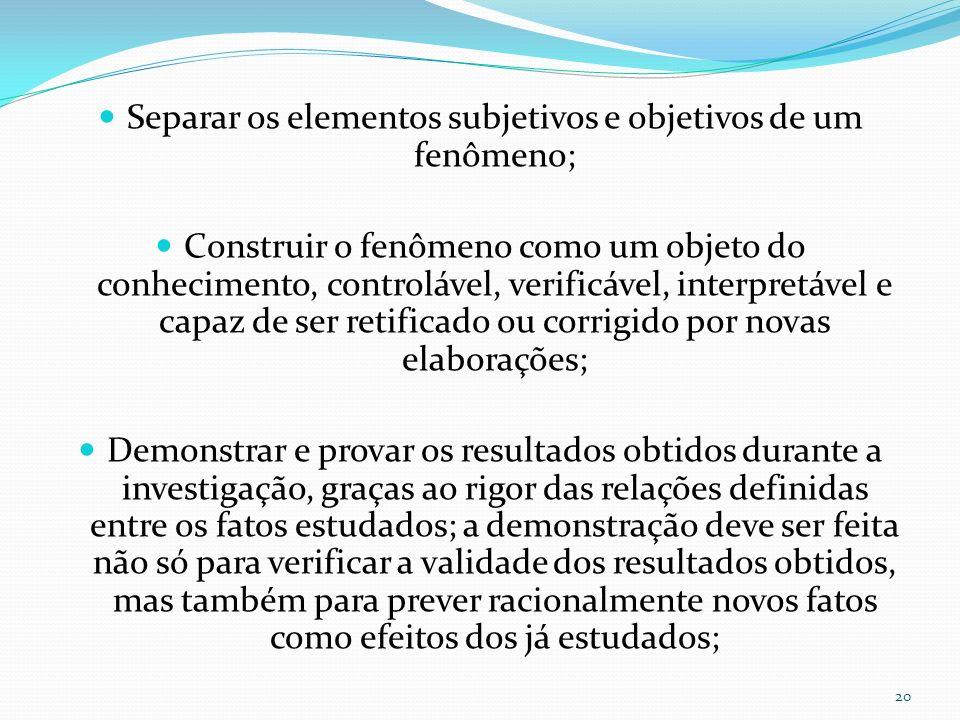 Separar os elementos subjetivos e objetivos de um fenômeno; Construir o fenômeno como um objeto do conhecimento, controlável, verificável, interpretáv