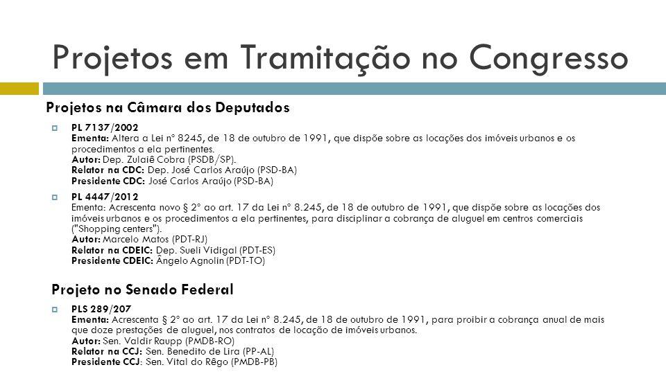 Projetos em Tramitação no Congresso PL 7137/2002 Ementa: Altera a Lei nº 8245, de 18 de outubro de 1991, que dispõe sobre as locações dos imóveis urba