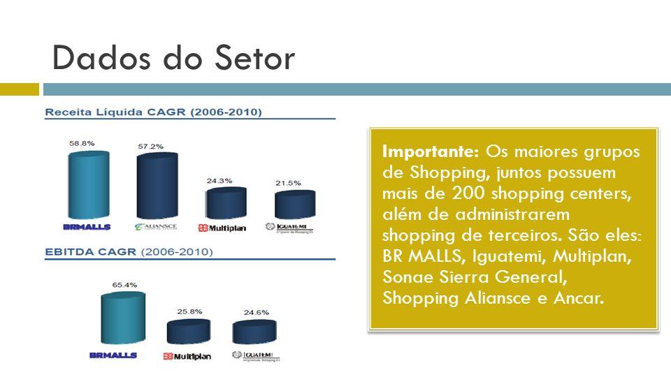 Dados do Setor Importante: Os maiores grupos de Shopping, juntos possuem mais de 200 shopping centers, além de administrarem shopping de terceiros. Sã