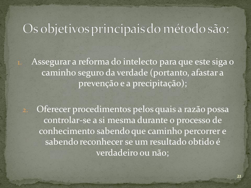 1. Assegurar a reforma do intelecto para que este siga o caminho seguro da verdade (portanto, afastar a prevenção e a precipitação); 2. Oferecer proce