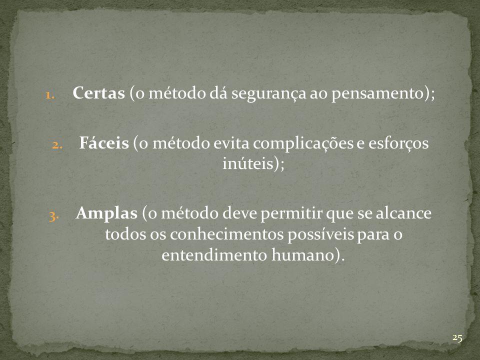 1. Certas (o método dá segurança ao pensamento); 2. Fáceis (o método evita complicações e esforços inúteis); 3. Amplas (o método deve permitir que se