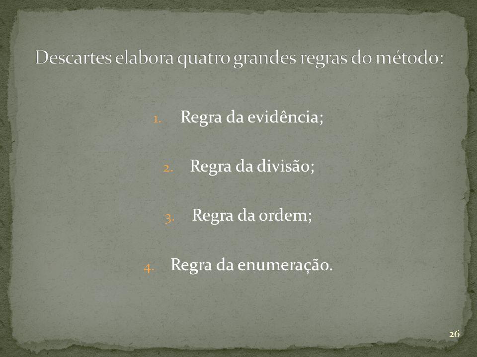 1. Regra da evidência; 2. Regra da divisão; 3. Regra da ordem; 4. Regra da enumeração. 26