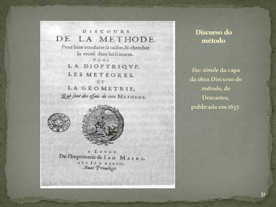 Fac-símile da capa da obra Discurso do método, de Descartes, publicada em 1637. 31