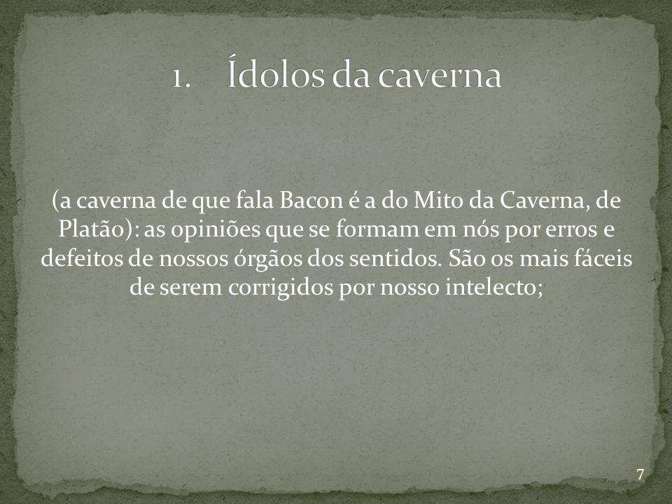 (a caverna de que fala Bacon é a do Mito da Caverna, de Platão): as opiniões que se formam em nós por erros e defeitos de nossos órgãos dos sentidos.