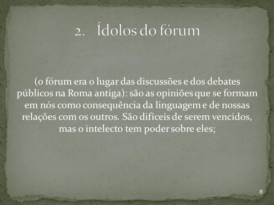 (o fórum era o lugar das discussões e dos debates públicos na Roma antiga): são as opiniões que se formam em nós como consequência da linguagem e de n