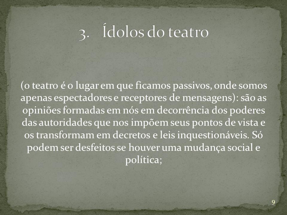 (o teatro é o lugar em que ficamos passivos, onde somos apenas espectadores e receptores de mensagens): são as opiniões formadas em nós em decorrência