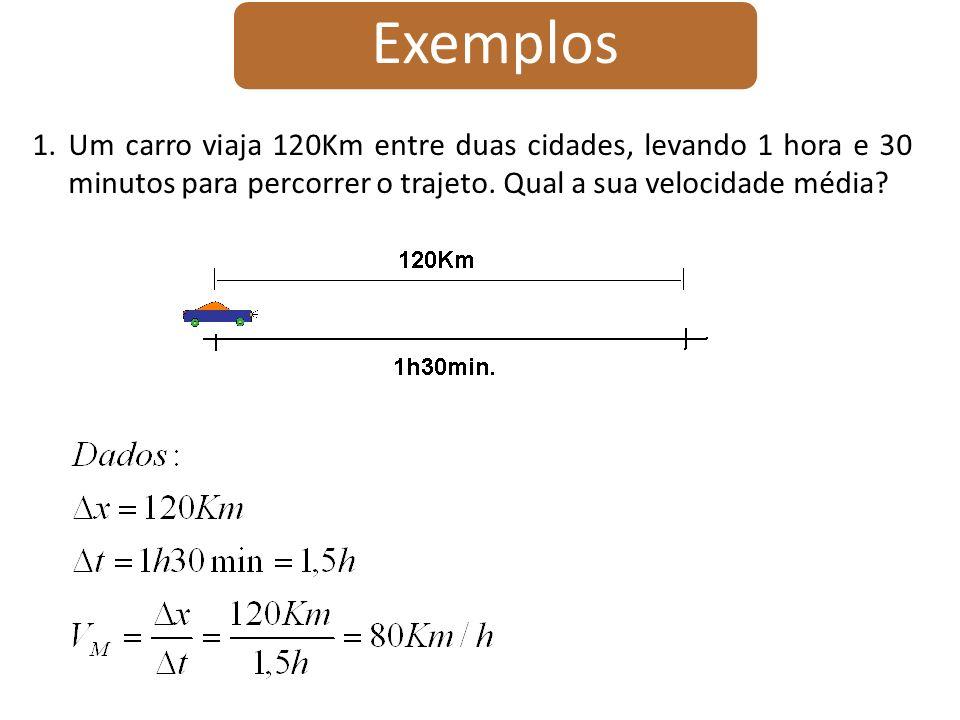 Exemplos 1.Um carro viaja em uma estrada por 40Km a 30Km/h.