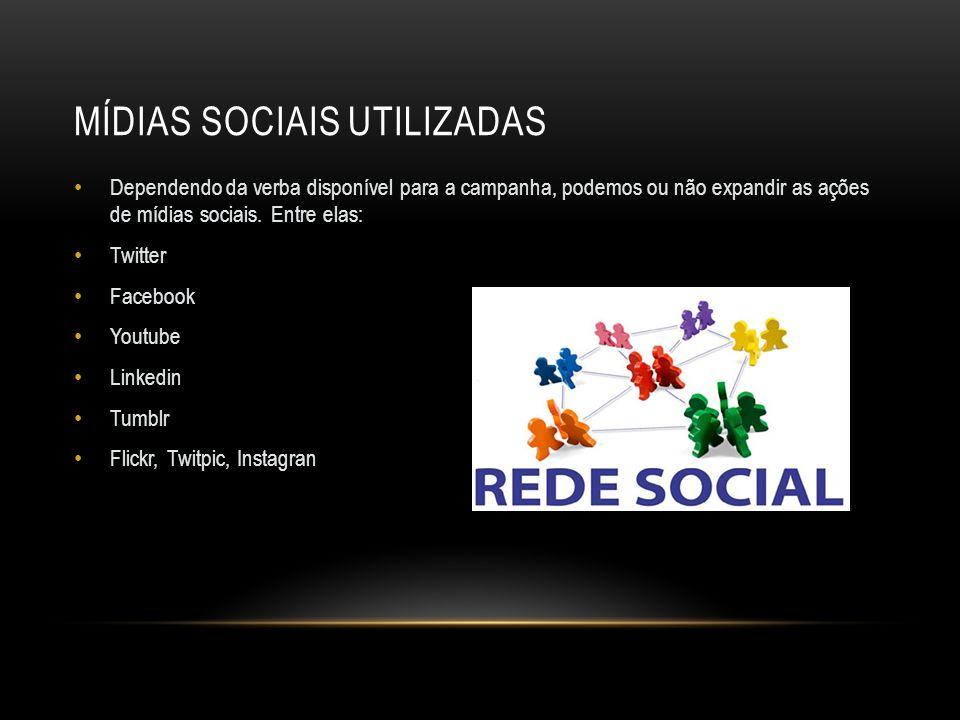 MÍDIAS SOCIAIS UTILIZADAS Dependendo da verba disponível para a campanha, podemos ou não expandir as ações de mídias sociais. Entre elas: Twitter Face