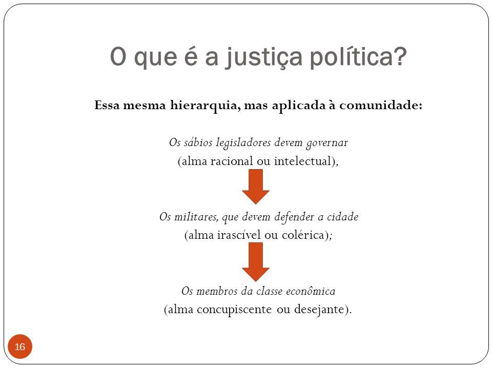 O que é a justiça política? Essa mesma hierarquia, mas aplicada à comunidade: Os sábios legisladores devem governar (alma racional ou intelectual), Os