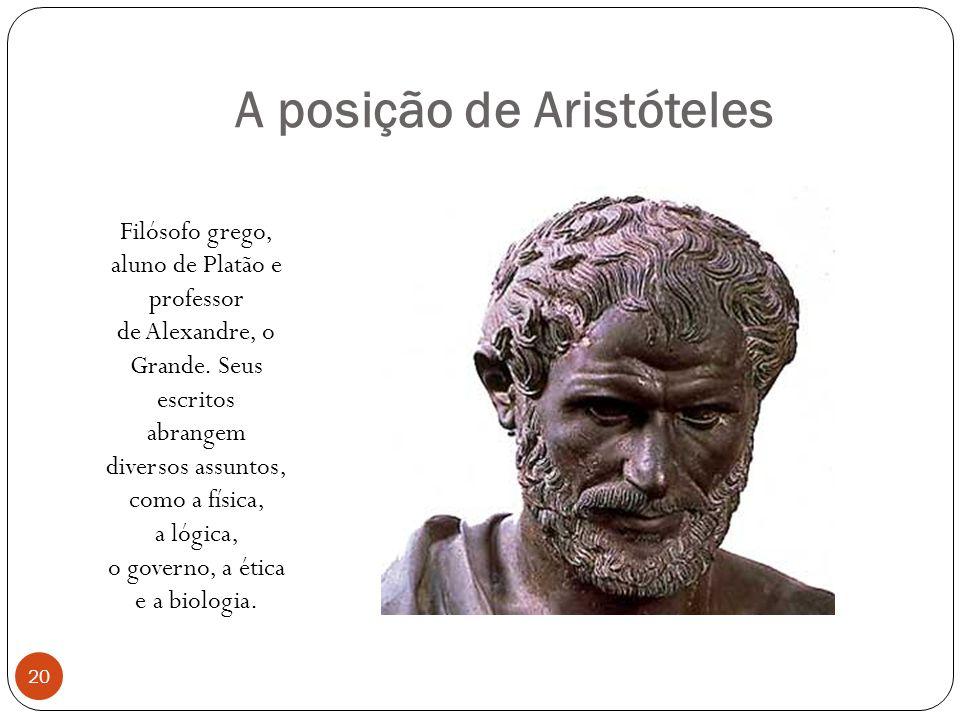 A posição de Aristóteles Filósofo grego, aluno de Platão e professor de Alexandre, o Grande. Seus escritos abrangem diversos assuntos, como a física,