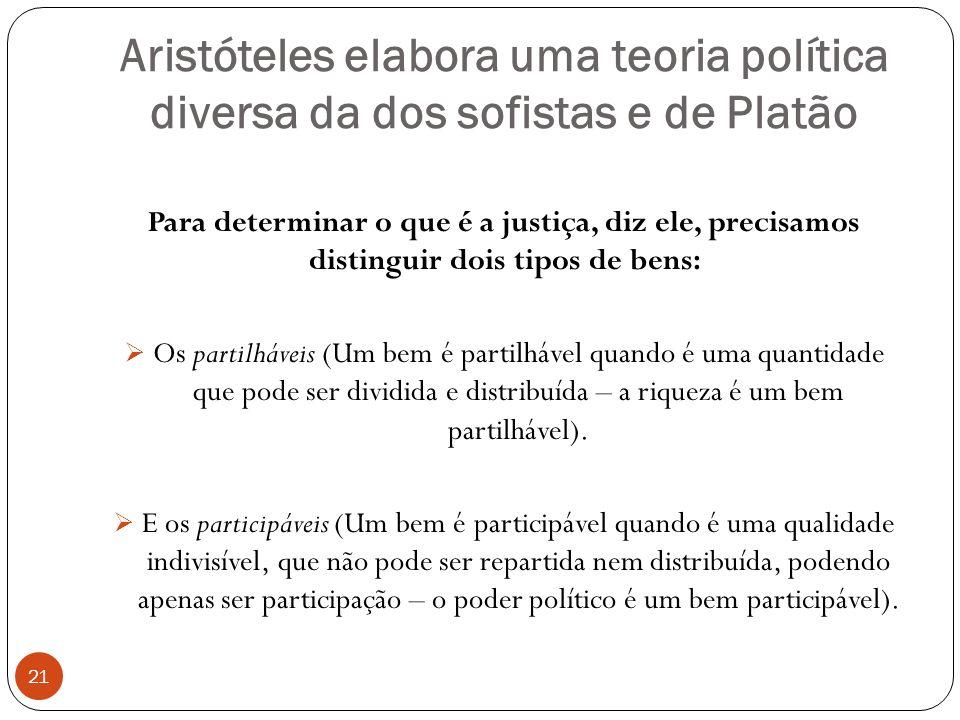 Aristóteles elabora uma teoria política diversa da dos sofistas e de Platão 21 Para determinar o que é a justiça, diz ele, precisamos distinguir dois