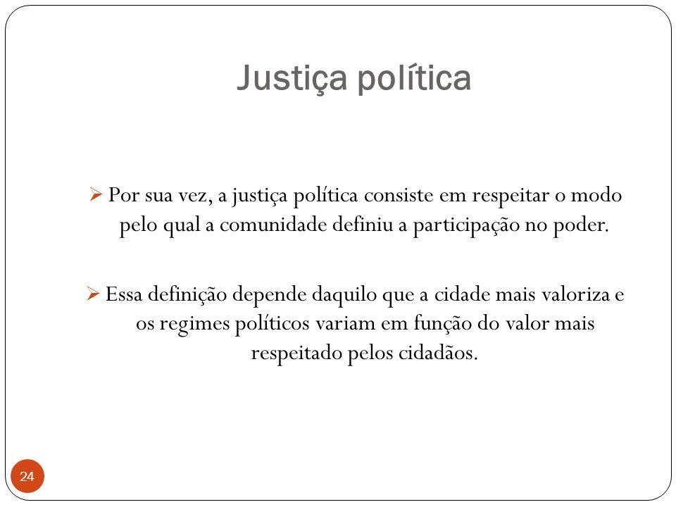 Justiça política 24 Por sua vez, a justiça política consiste em respeitar o modo pelo qual a comunidade definiu a participação no poder. Essa definiçã